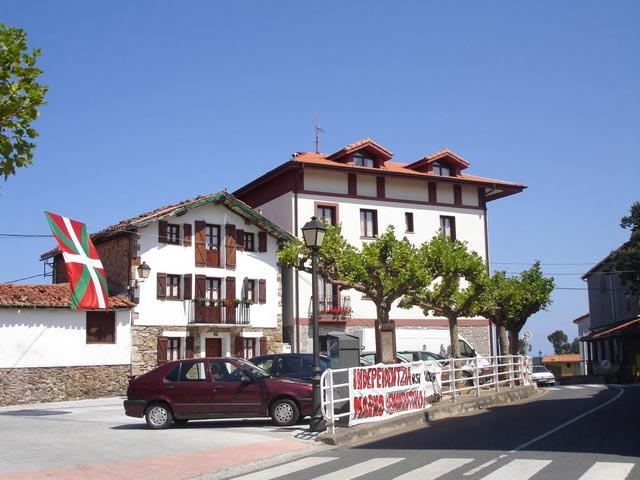 Basque nationalist banners in a small village